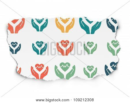 Insurance concept: Heart And Palm icons on Torn Paper background