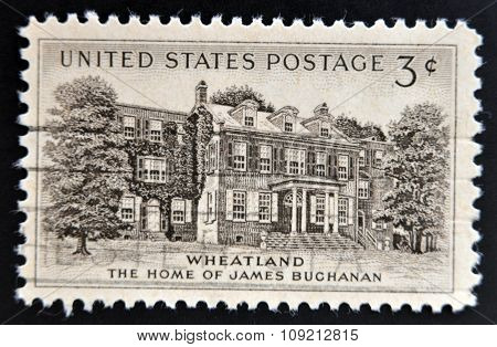 A stamp printed in USA shows Home of James Buchanan in Wheatland
