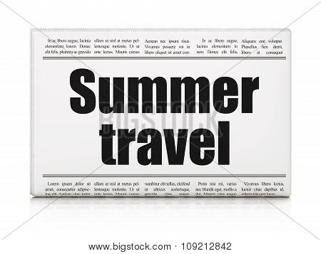 Vacation concept: newspaper headline Summer Travel