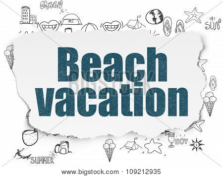 Tourism concept: Beach Vacation on Torn Paper background