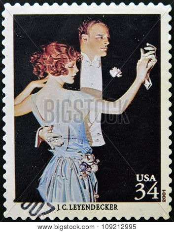 A stamp printed in USA shows arrow collars and shirts for dress by Leyendecker circa 2001