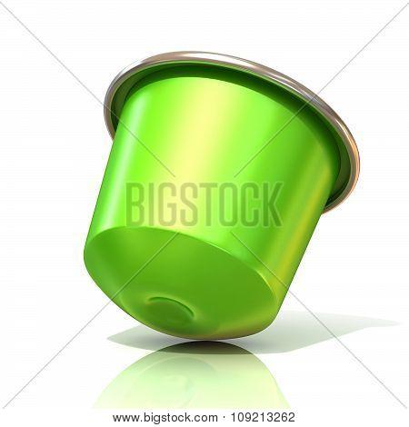 Green coffee capsule. 3D render