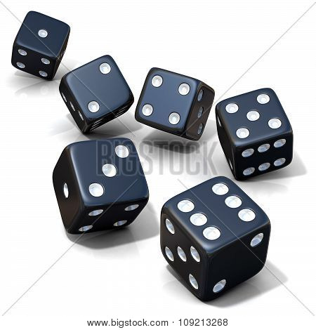 Six black game dices isolated
