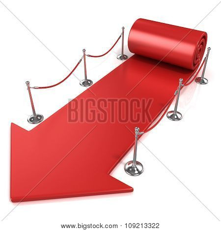 Red carpet arrow isolated
