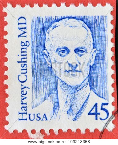A stamp printed in USA shows image portrait of famous American neurosurgeon Harvey Cushing Circa 198