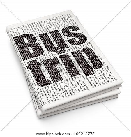 Tourism concept: Bus Trip on Newspaper background