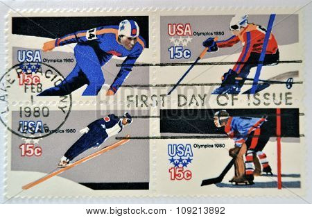 stamps printed in USA dedicated to the 13th Winter Olympic Games Lake Placid circa 1980