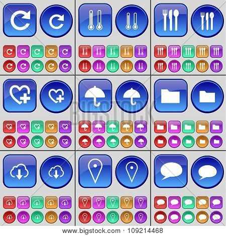 Reload, Thermometer, Cutlery, Heart, Umbrella, Folder, Cloud, Checkpoint, Chat Cloud. A Large Set