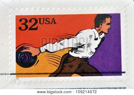 A stamp printed in USA dedicated to recreational sports shows bowling circa 1995