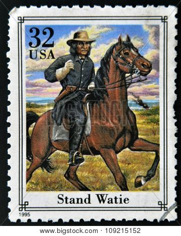 A stamp printed in USA showing cowboy Stand Watie circa 1995