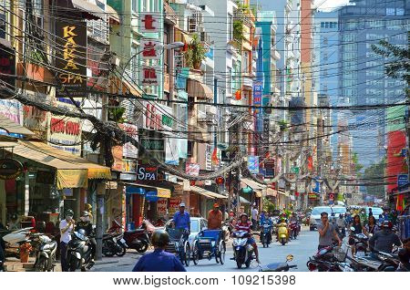 Streets of Saigon (Ho Chi Min City) full of wires.