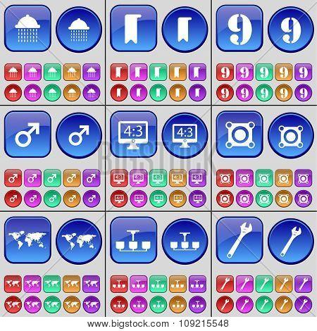 Shower, Marker, Nine, Mars Symbol, Monitor, Speaker, Globe, Chandelier, Wrench. A Large Set Of
