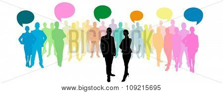 Business group with speech bubbles in different colours
