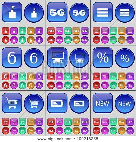 Flag Tower, 5G, Apps, Six, Monitor, Percent, Shopping Cart, Battery, New. A Large Set Of Multi-