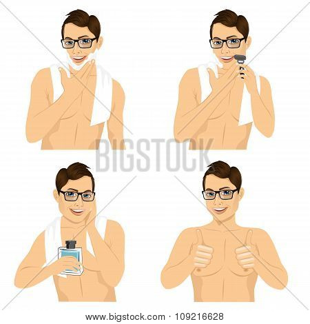 four steps of man shaving his face