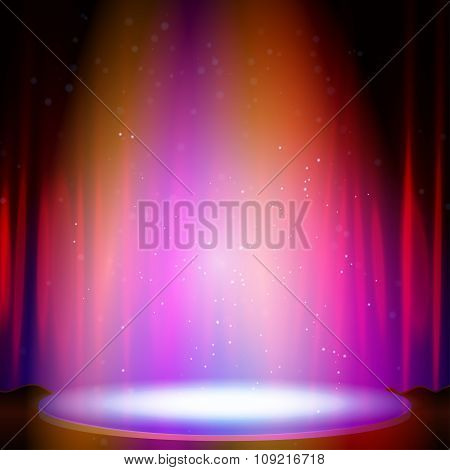 Stage with spotlight. Vector illustration.