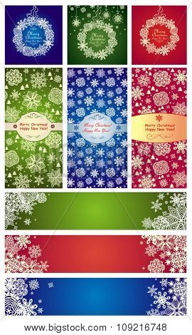 Variation of xmas labels with paper snowflakes
