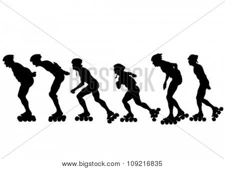 Silhouette of boy on roller skates on white background