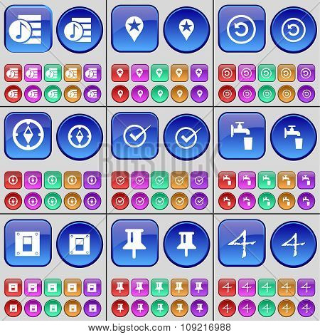 Music File, Checkpoint, Reload, Compass, Tick, Tap, Switch, Pin, Four. A Large Set Of Multi-