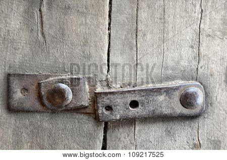 Old Wooden Fence With Iron Rivets