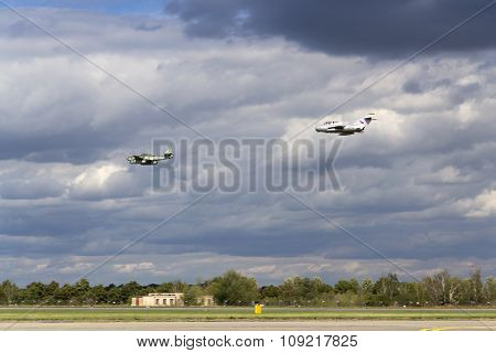 German Jet Fighter Aircraft Messerschmitt Me-262 Schwalbe And Soviet Mikoyan-gurevich Mig-15 Flying