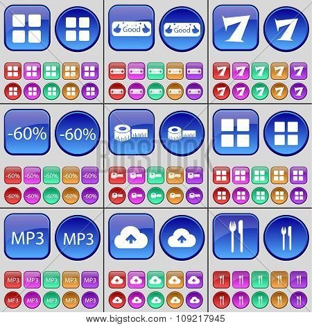 Apps, Like, Seven, Discount, Tape Measure, Mp3, Cloud, Cutlery. A Large Set Of Multi-colored