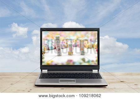 Word Happy New Year On Laptop Screen