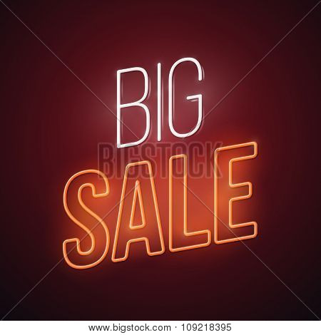 Neon big sale illustration. Glowing advertising vector design.