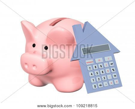 Calculation of the domestic finance. Piggy bank and calculator. Isolated on white background