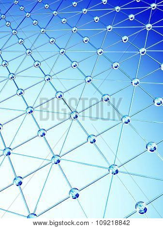 Abstract background with 3d glass lattice of blue color