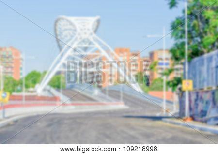 Defocuses Background Of Garbatella Bridge In Ostiense District, Rome, Italy