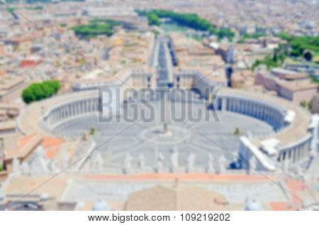 Defocused Background With Aerial View Of St Peter's Square, Vatican City