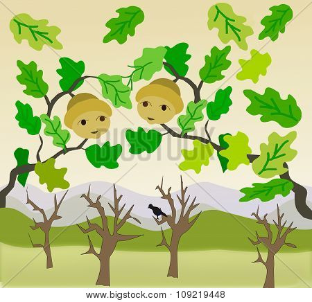 Two Acorns and bare Trees
