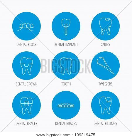 Dental implant, floss and tooth icons. Braces.