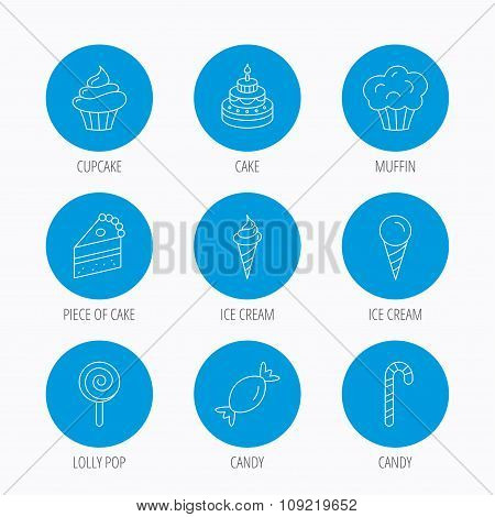 Cake, candy and muffin icons. Cupcake sign.