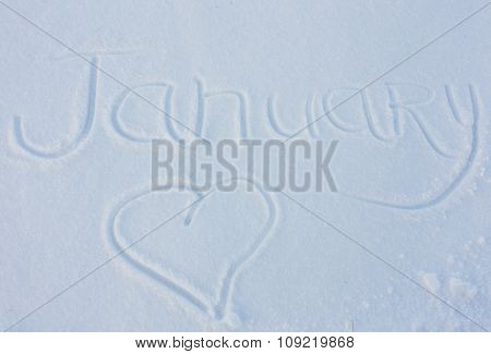 The word January written on snow background