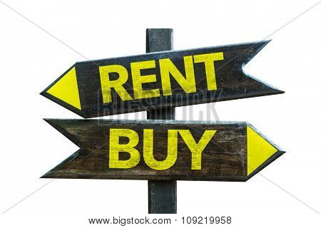 Rent - Buy signpost isolated on white background