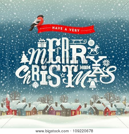 Christmas greeting type design with winter village scene - holidays vector illustration