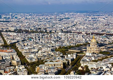 Aerial View Of Dome Des Invalides, Paris, France