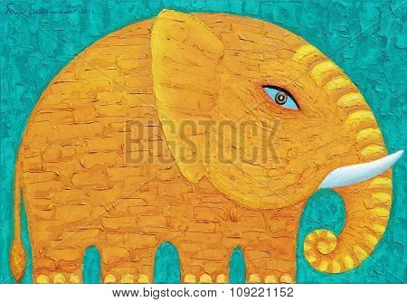 Yellow Elephant In Green Background.