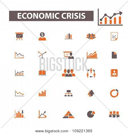 economic crisis, market analytics  icons, signs vector concept set for infographics, mobile, website, application