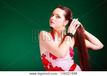 Long Haired Woman In Summer Dress.