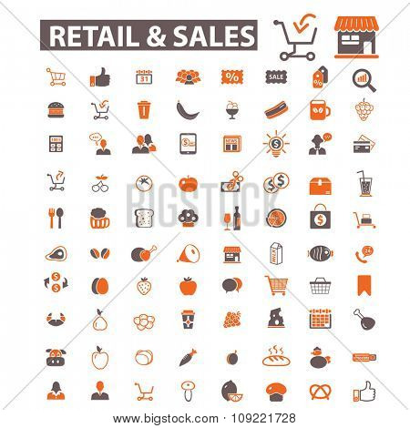 retail, supermarket, sales, shopping  icons, signs vector concept set for infographics, mobile, website, application
