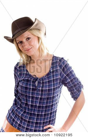 Western Woman In Cowboy Shirt And Hat
