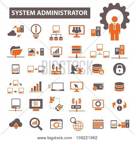 system administrator, computer network, connection, database, technology icons, signs vector concept set for infographics, mobile, website, application