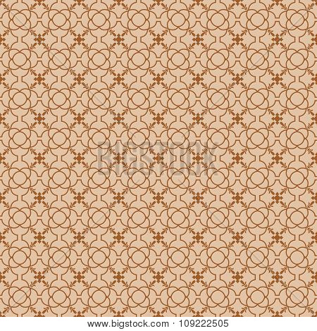 Seamless background image of vintage round flower line shape pattern.