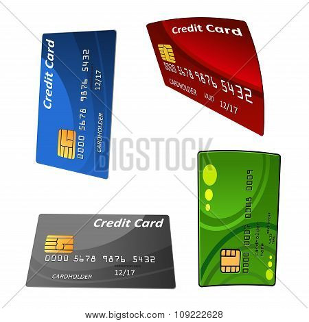 Set of colorful credit bank cards