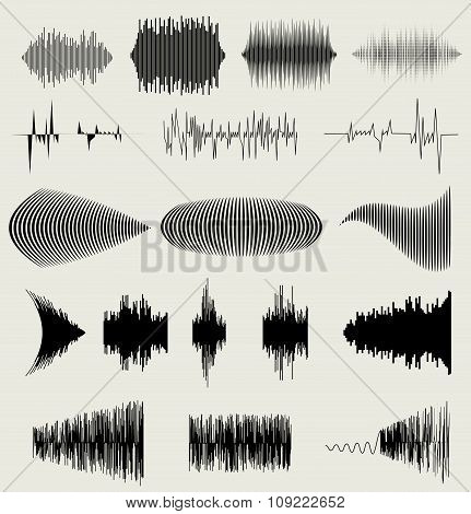 Vector Sound Waves Set. Audio Equalizer Technology, Pulse Musical. Vector Illustration
