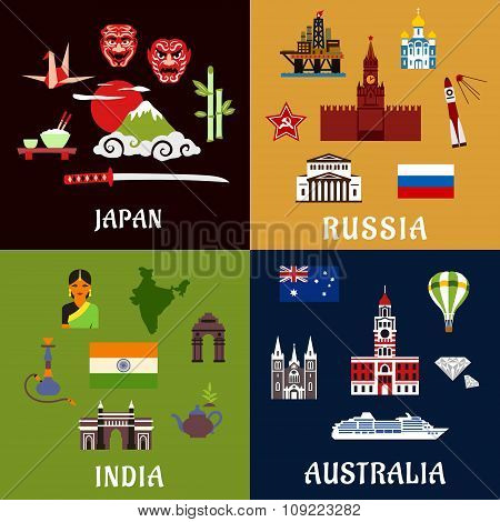 Japan, Russia, India and Australia travel icons