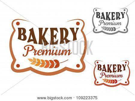 Premium bakery retro signboard with wheat